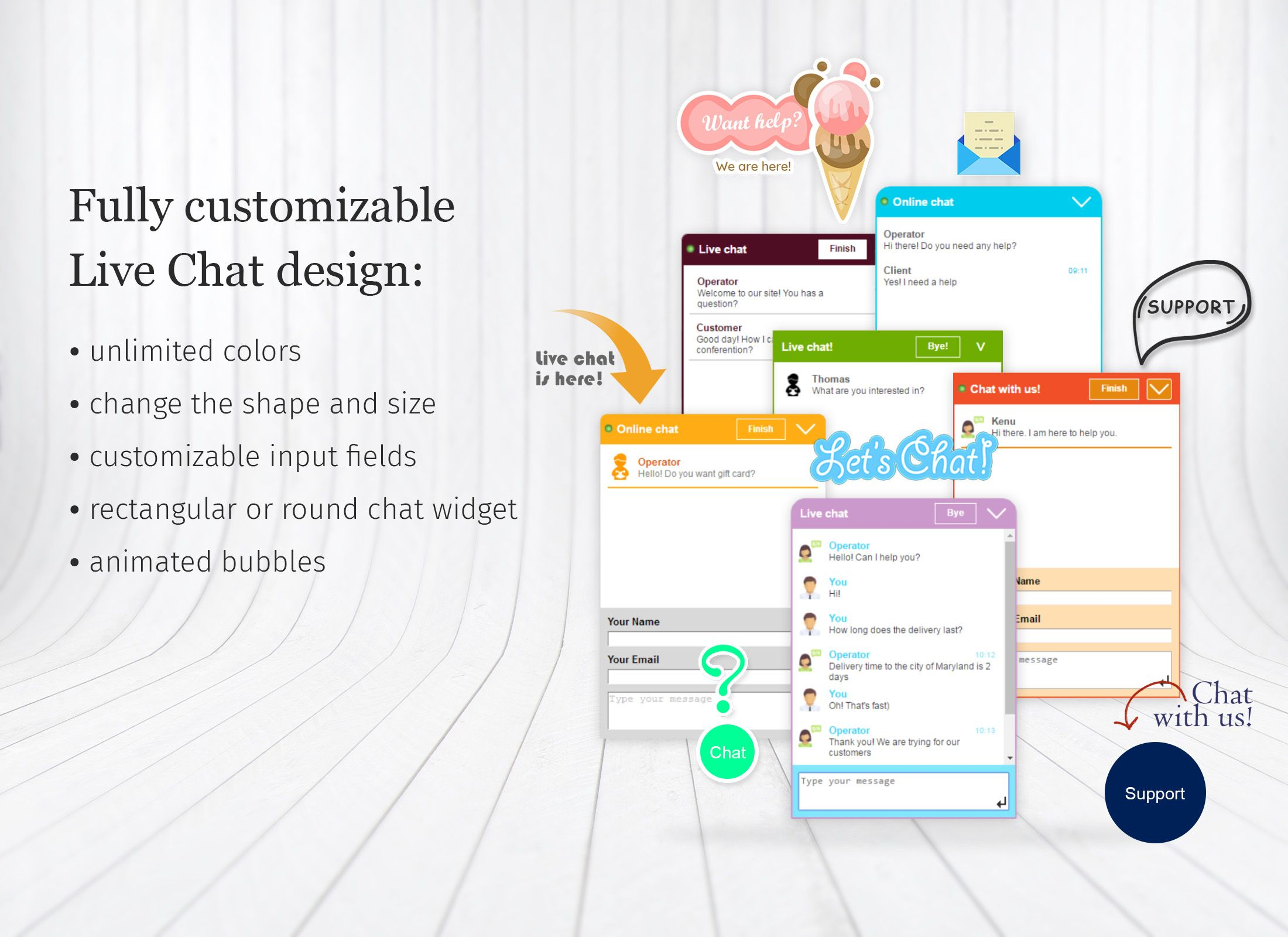 be creative and original for your customers. use chat bubbles and