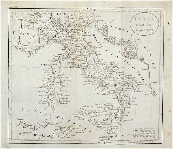 antique map russell j italy from the best authorities nd but