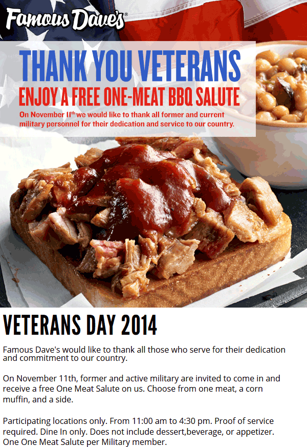 image about Famous Dave's Printable Coupons called Pinned Oct 27th: No cost supper for #Veterans the 11th at