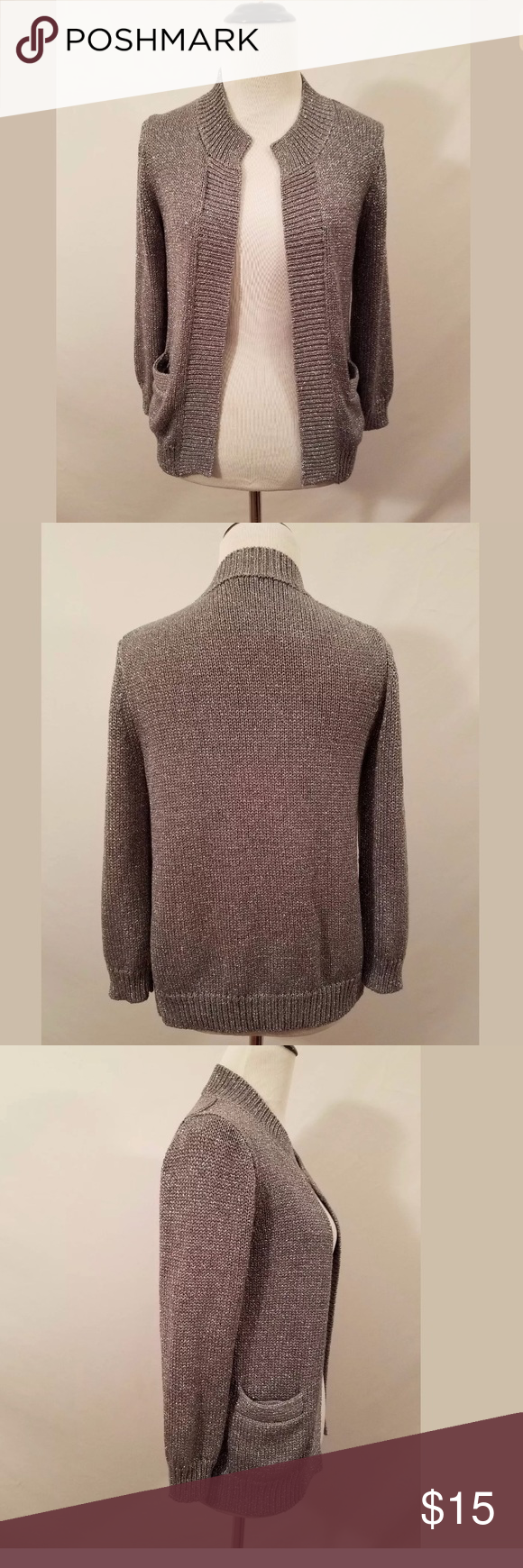 J.Crew Factory Silver Sparkle Cardigan Sweater | Sparkle, Sweater ...