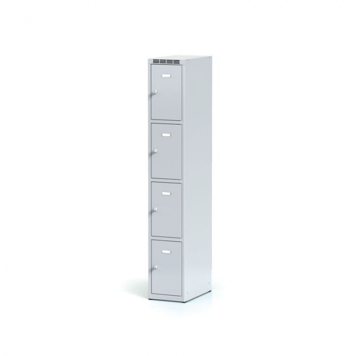 Sheet metal wardrobe, 4 boxes, gray door, cylindrical lock …
