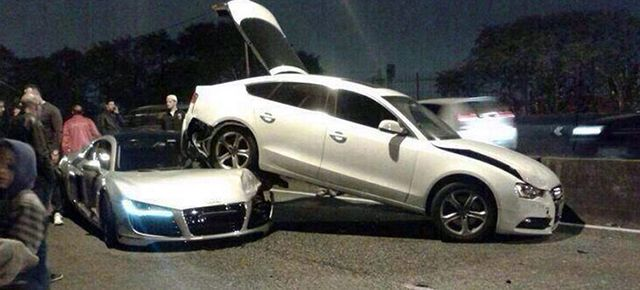 audi r8 locked in embrace with a5 sportback in bizarre crash a5 sportback audi audi a5 sportback audi r8 locked in embrace with a5