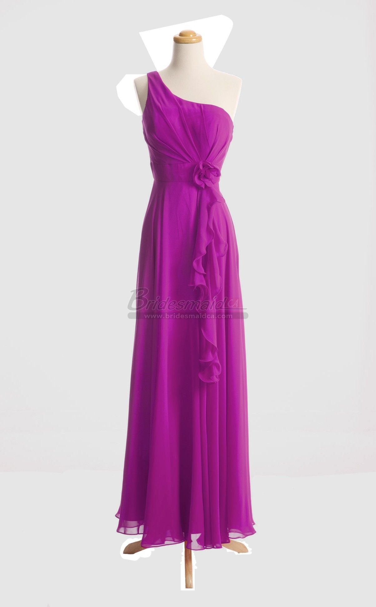 One Shoulder Chiffon Long Fuchsia Bridesmaid Dress in Purple Dresses ...