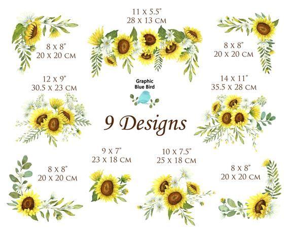 Wild Sunflower Designs Set includes Nine Watercolo