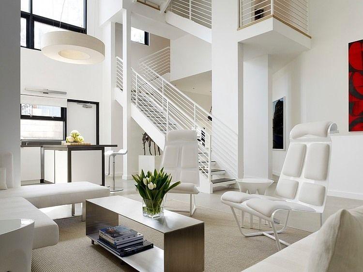 maisonette balkon wohnbereich modernes design led beleuchtung wohnwand