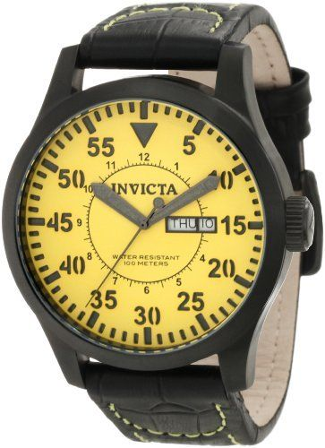 Invicta Men's 11208 Specialty Yellow Dial Black Leather Watch Invicta. $139.50. Water-resistant to 100 m (330 feet). Flame-fusion crystal; brushed black ion-plated stainless steel case; black leather strap with contrast yellow stitching. Quartz movement. Yellow dial with black and gray hands, black hour markers and arabic numerals; luminous. Day and date window. Save 70%!