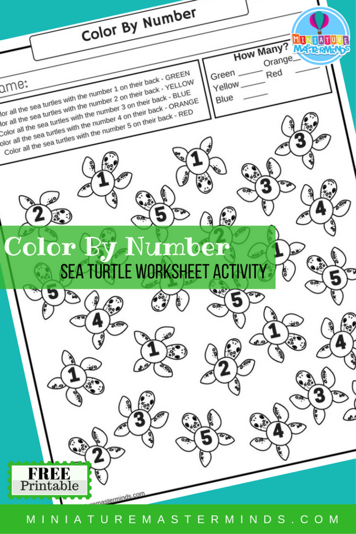 Color By Number Sea Turtle Free Printable Worksheet Activity | Free ...