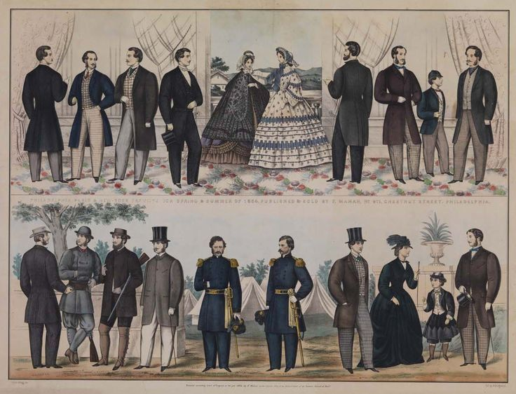 1860 men's fashion plate   Fashion Plate of men's and boys' fashions circa late 1850s