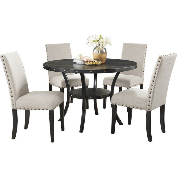 Amy Espresso 5 Piece Dining Set | Fabric Dining Chairs, Storage Room And  Nail Head