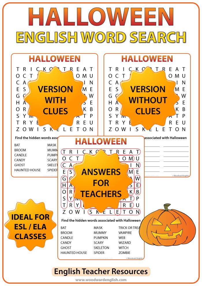 Halloween Word Search in English with 18 halloween-themed words as ...