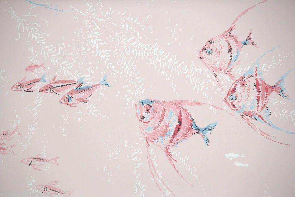 1950 S Vintage Wallpaper Mid Century Pink Fish Bathroom Design