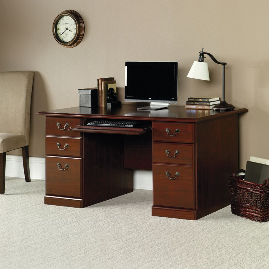 sauder heritage hill computer desk in classic cherry red