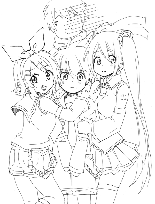 Pin By Aki Chwan On Lineart For Coloring In 2020 Anime Lineart Coloring Pages Vocaloid