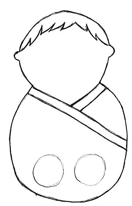 Walking Finger Puppet Template, blank man in robe