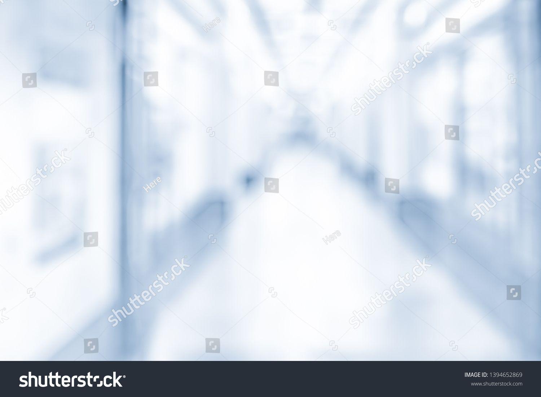 Blurred Office Background Modern Long Hospital Hallway Interior