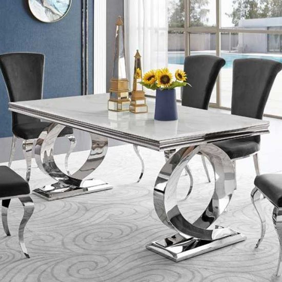 Adelene Marble Dining Table In White With Polished Metal Legs In