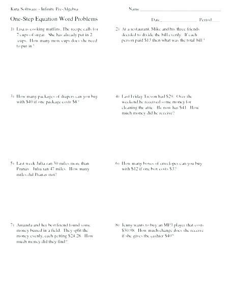 20 Inequality Word Problems Worksheet 7th Grade Word Problem