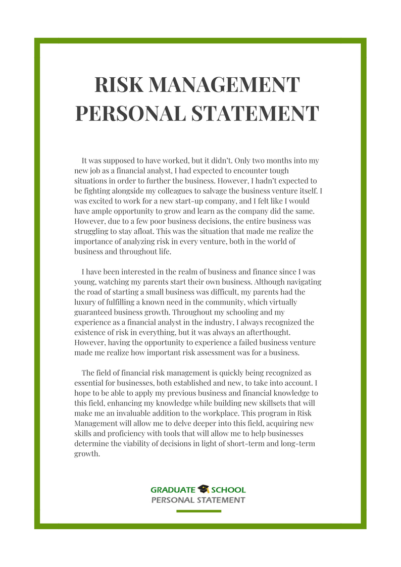 Personal statement for management