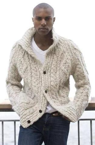 Men\'s hand knit cardigan 34A | Pinterest