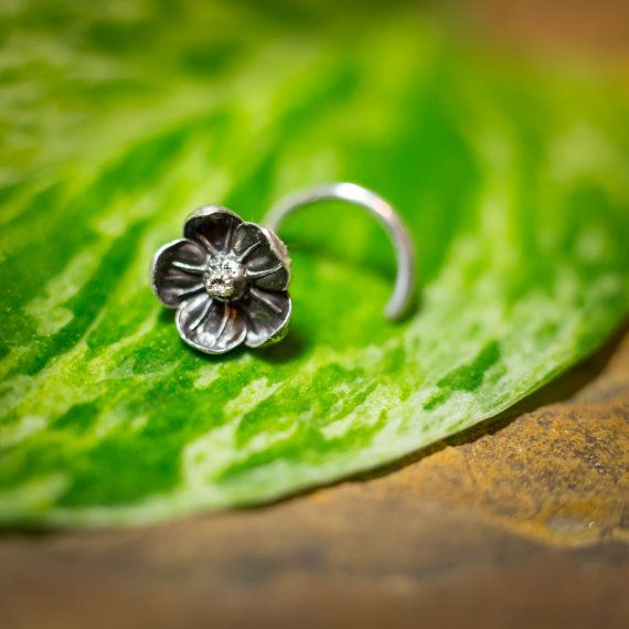 Silver Flower Nose Stud Cast Directly From Real 5mm Flowers