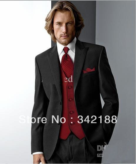 Men S Black And Red Tuxedo For Wedding Suit Italian Wedding Groomsman Dress Men Suits Black Ja Wedding Suits Men Wedding Suits Men Black Grey Suit Jacket