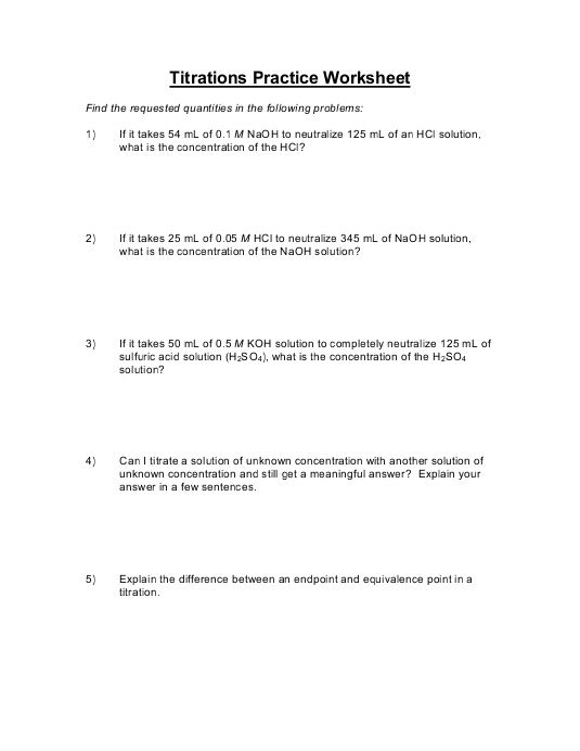 Titration Problems Worksheet - worksheet
