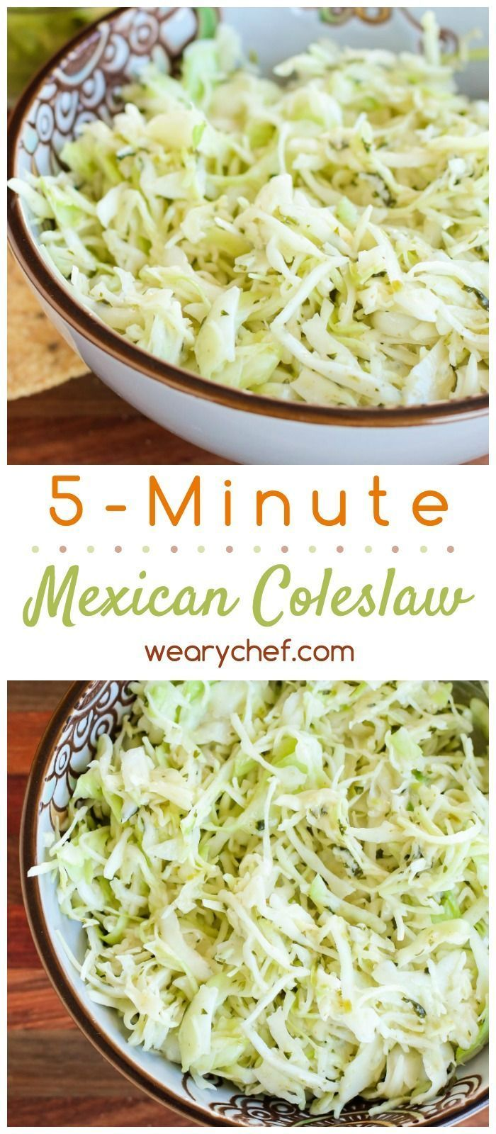 This easy Mexican coleslaw is a 5-minute side dish recipe