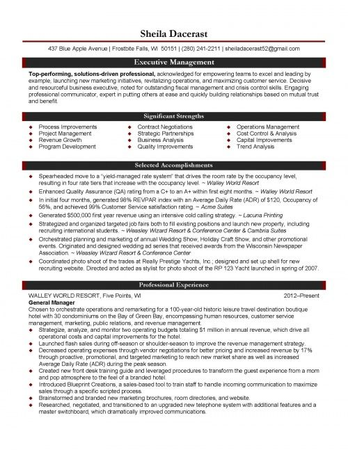 Professional Resume Samples By Julie Walraven Cmrw Hospitality Management Resumes