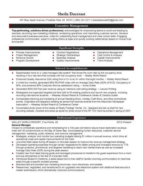 Hospitality Management Resume  JlPage  Resume