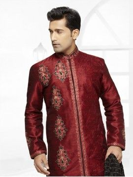 Maroon Color Stylish Sherwani With Images Sherwani Maroon Color Stylish