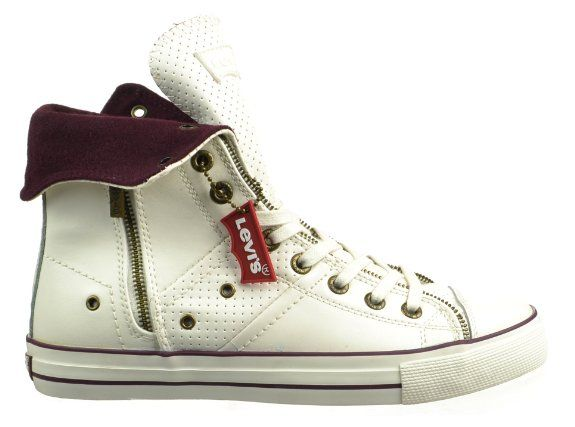 Masculinity In Every Sides & Details.Levis' Men's Zip Ex Perf - Off White/Burgundy Leather Shoes