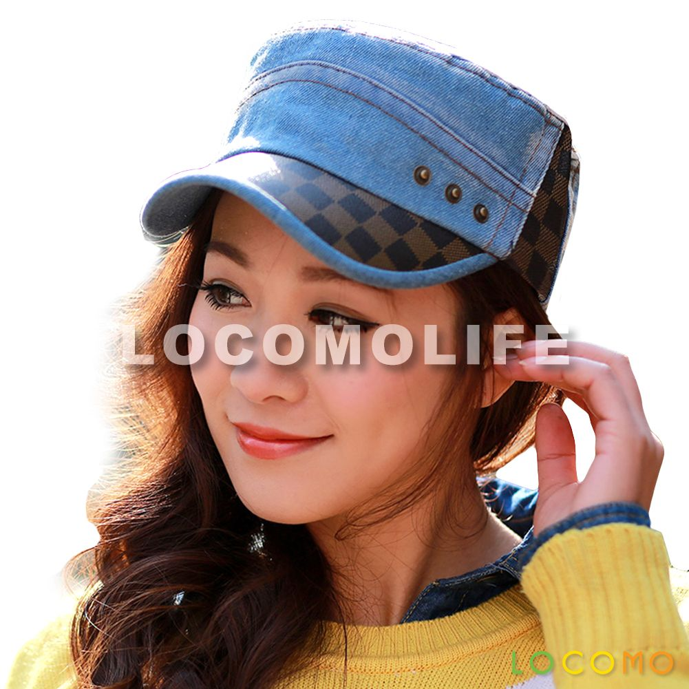 0aae38d41fe Men Women Denim Jeans Checkers Brim Military Flat Cap Blue ...