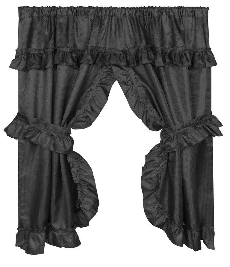 Ruffled Window Curtain With Valance In Black Curtains 70 X 45