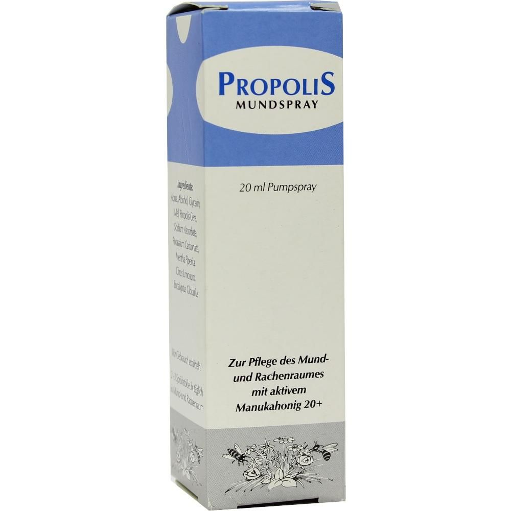 PROPOLIS MUNDSPRAY:   Packungsinhalt: 20 ml Spray PZN: 00632846 Hersteller: Health Care Products Vertriebs GmbH Preis: 7,08 EUR inkl. 19…