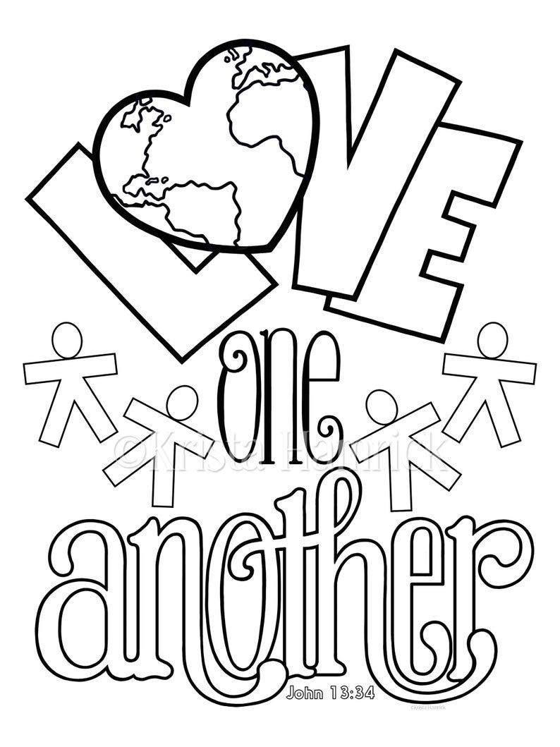 God is Love / Love One Another 2 coloring pages for