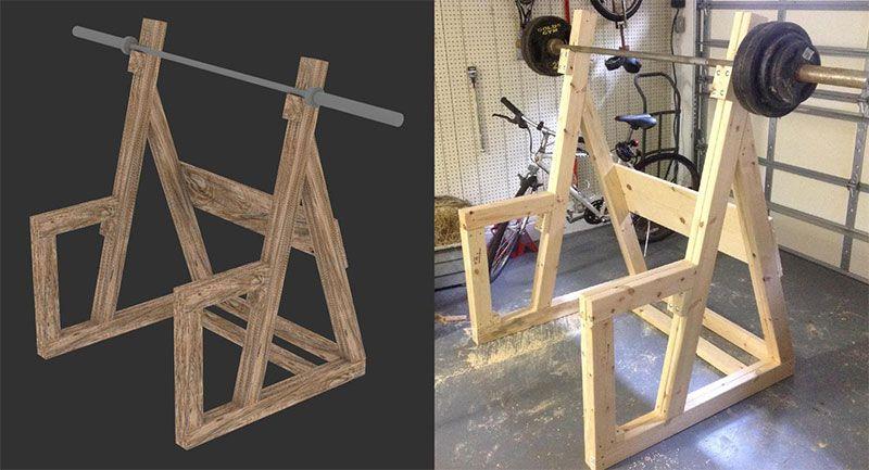 Diy wooden squat rack diy home gym gym rack homemade