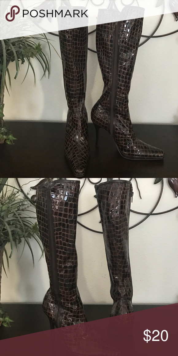 Chinese laundry Boots Brown faux print,  patent look boots , like new , very cute on Chinese Laundry Shoes Heeled Boots