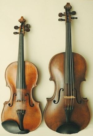 Smaller one is a violin, bigger one is a viola. Both very beautiful.