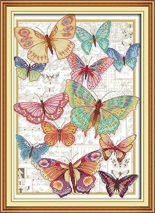 Funchey Cross Stitch Kits Stamped Full Range of Patterns Embroidery Starter Kits for Adult Beginners and Kids DIY Easy Printed Cross-Stitch Kits for Home Decor 14CT-Cats Under The Sun 7.5 x11 inch