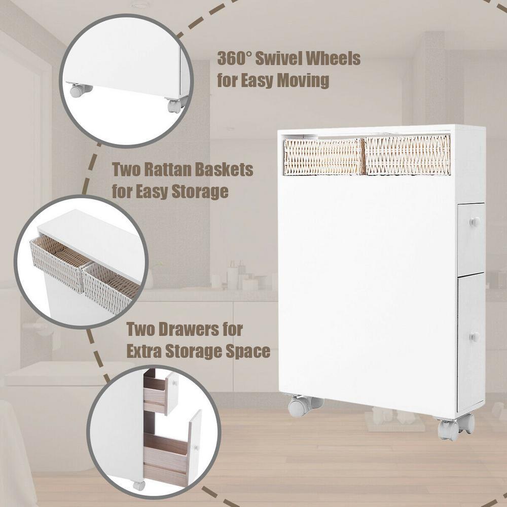 Costway 6 in. Wood Floor Bathroom Space Saver Storage ...
