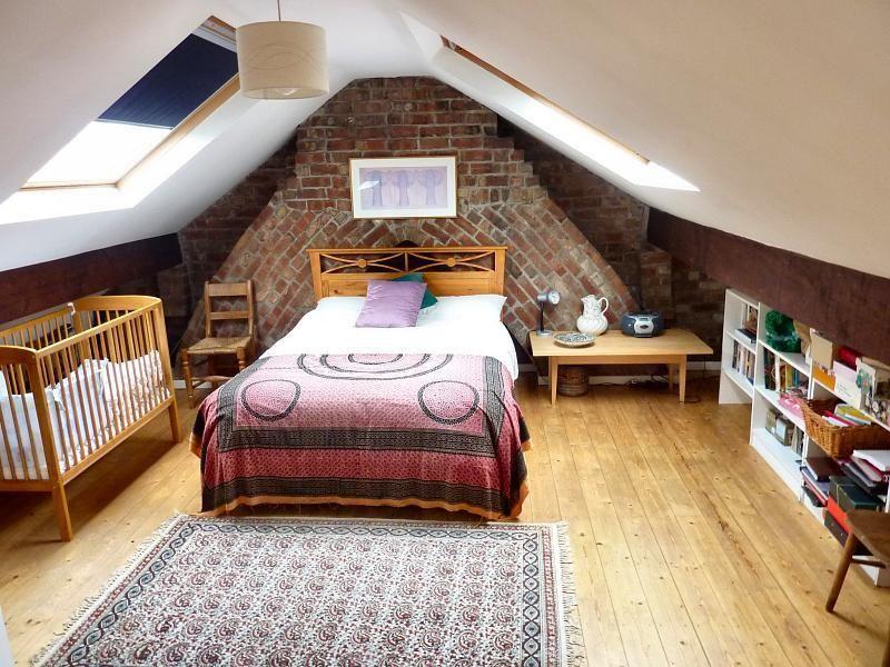 Exposed Brick Chimney In Loft Conversion Bedroom СПАЛЬНЯ