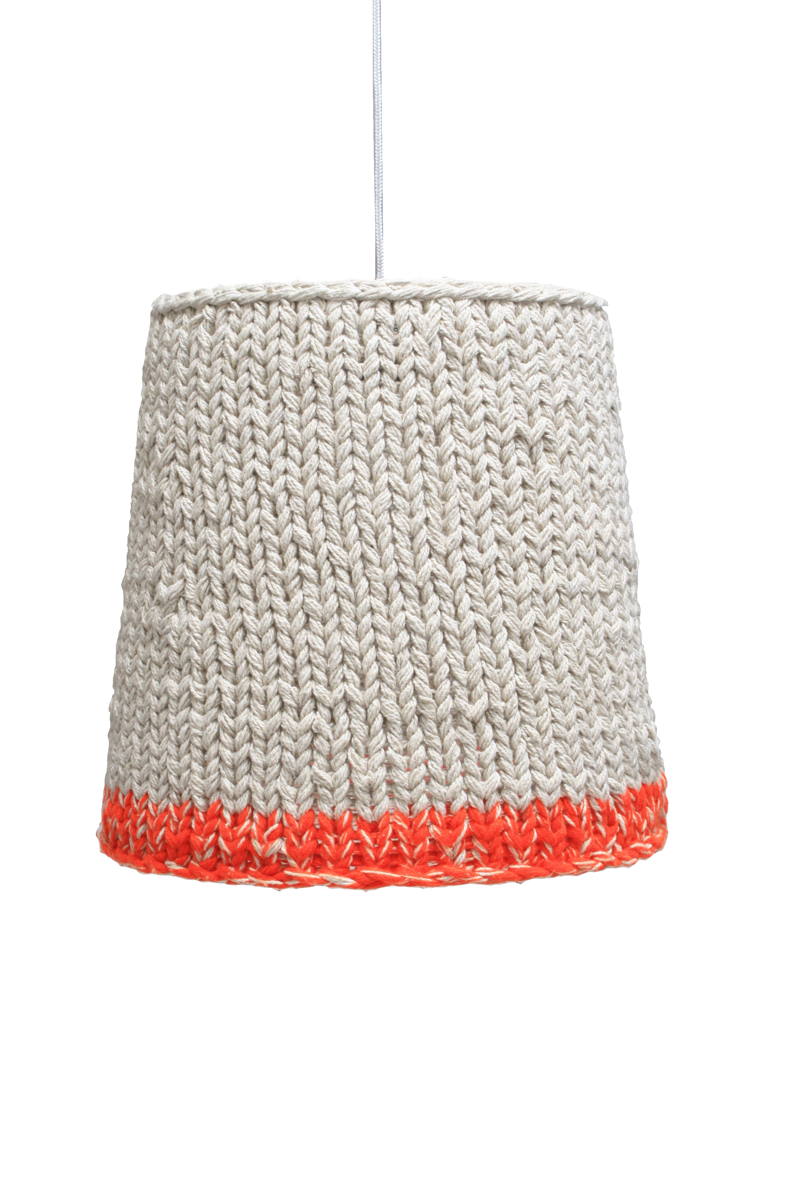 Knitted Orange Neon Could Do This Idea With My Old Lamp Shade And Add Fringe Of Some Kind Knitting Blogs Knitting Wool Knitting