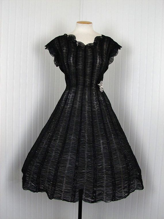 With a colored slip underneath? I die!   THE DARK COQUETTE Vintage 50s Rare Woven Black Chiffon Crochet Ribbon Cocktail Party Dress
