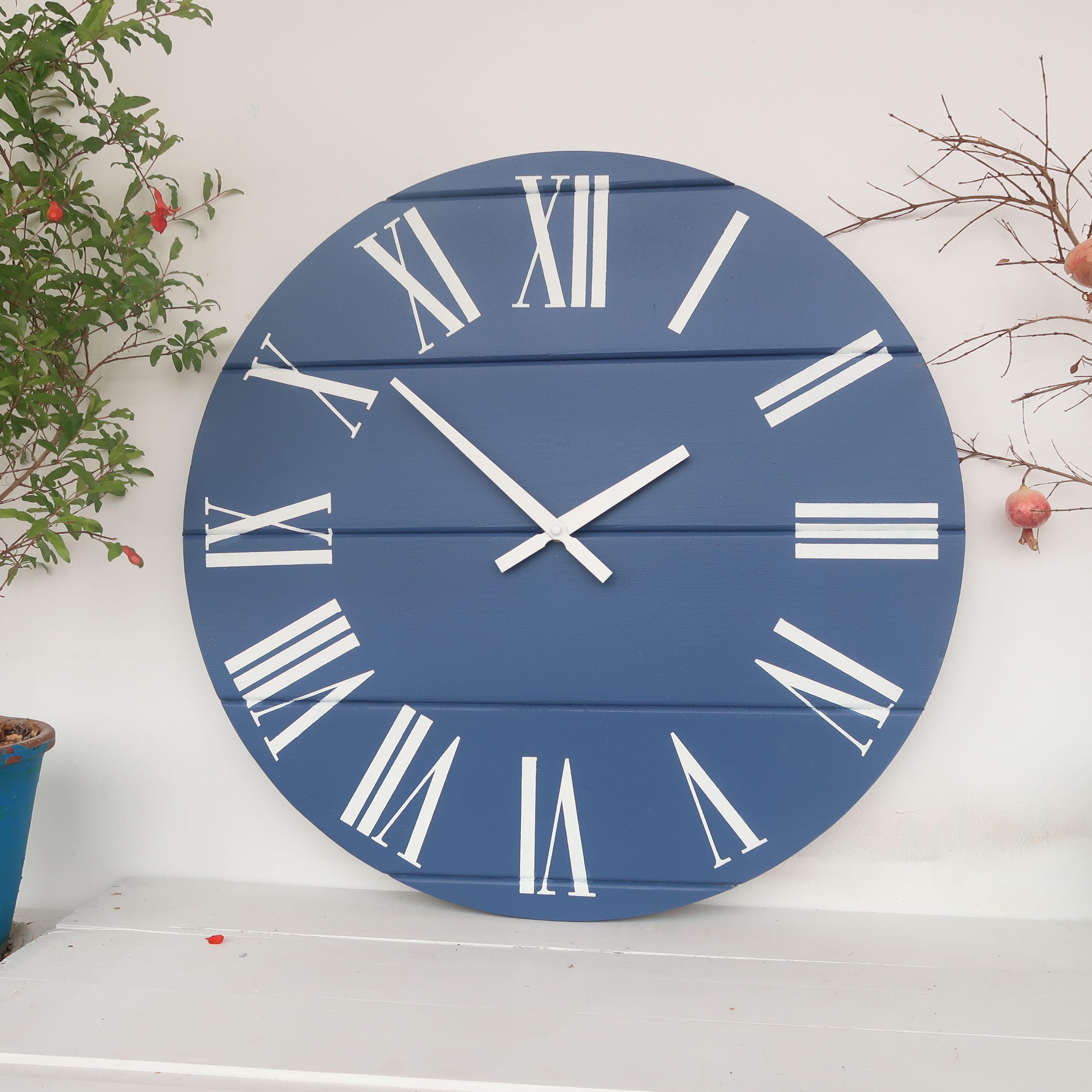 Blue Wall Clock Big Wall Clocks Rustic Kitchen Decor Clock