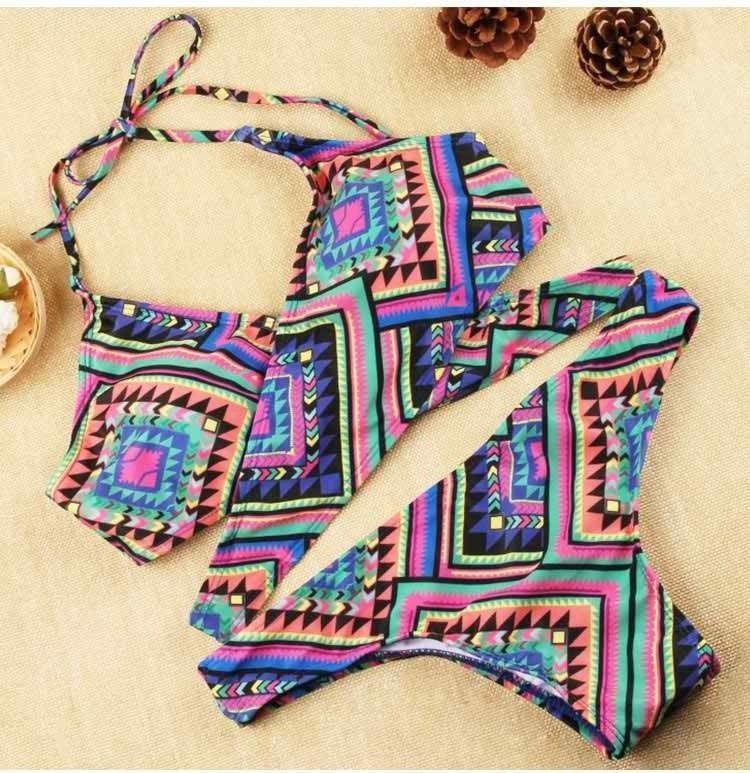 Multicolor Boho Print Cross Bikini