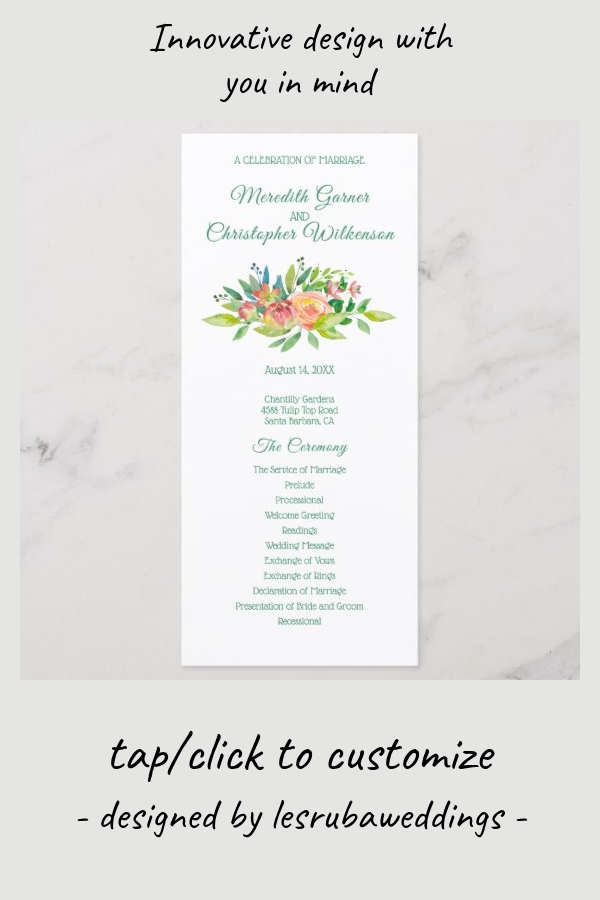 Peachy Yellow Floral Bouquet Wedding Program Zazzle Com Wedding Programs Green Flower Bouquet Wedding Floral Bouquets Wedding