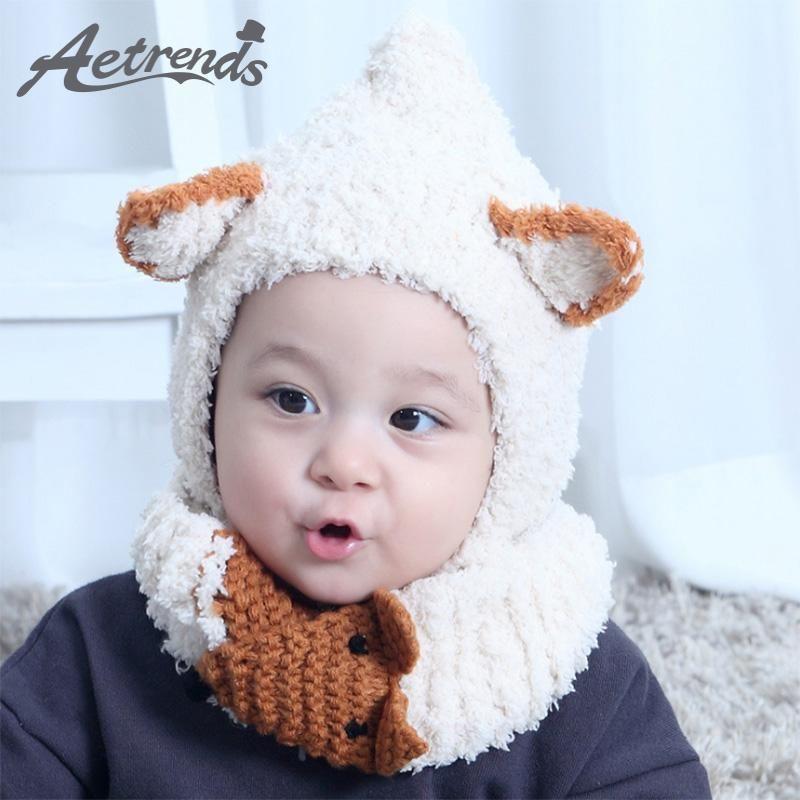 c1171c84c AETRENDS  6-30 Months Cute Baby Beanie Hats   Scarf Set 2017 Winter ...