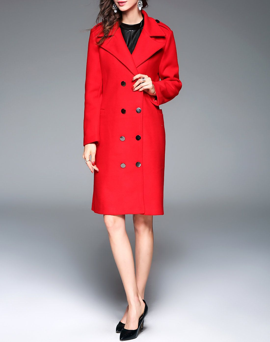 Adorewe vipme coats lanjian red notched lapel double breasted