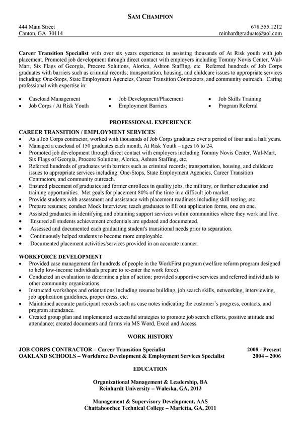 Sample Resumes University Career Services 2 -   wwwjobresume - workforce specialist sample resume