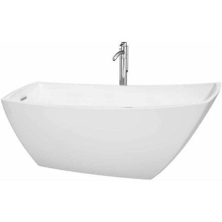 Wyndham Collection Antigua 67 inch Freestanding Bathtub in White with Floor Mounted Faucet, Drain and Overflow Trim in Polished Chrome